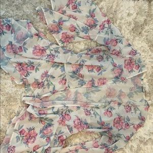 Floral see through cardigan